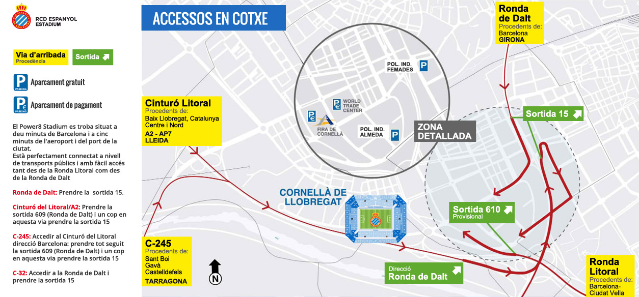Com arribar a RCD Espanyol: Accessos en cotxe